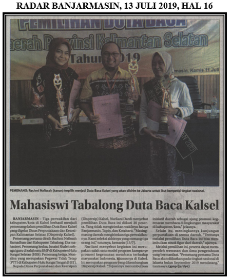 Mahasiswi Tabalong Duta Baca Kalsel